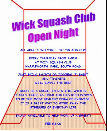 Photograph of Wick Squash Club Open Night