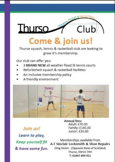 Photograph of Thurso Squash, Tennis and Racketball Club Membership Open Now