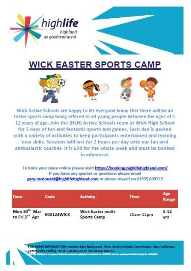 Photograph of Wick Easter Sports Camp