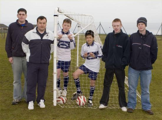 Photograph of Dounreay Apprentices On the Ball For South School, Wick